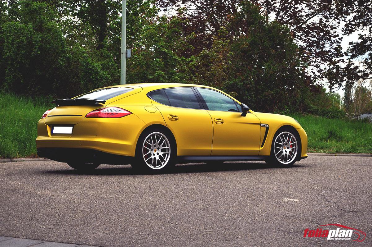 Porsche Panamera Gelb folierung foliaplan
