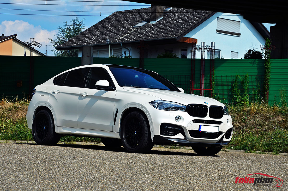 BMW X6 Matt Diamond White folierung foliaplan