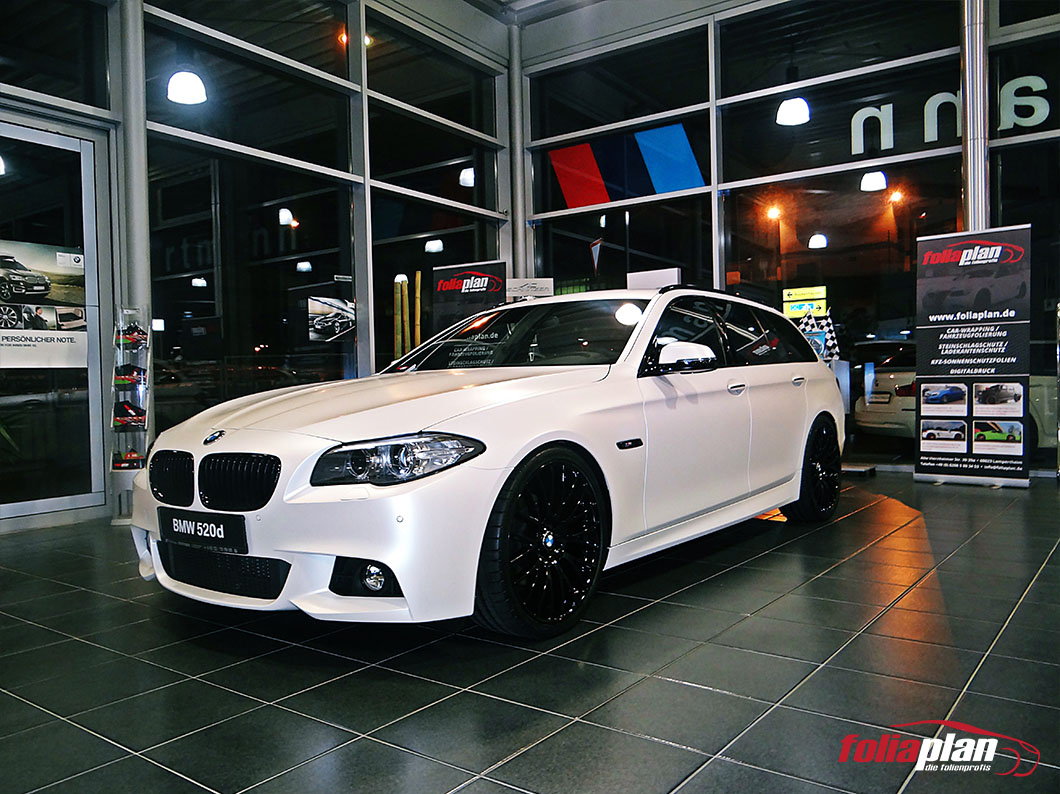 BMW 520d Pearl Weiß Matt folierung foliaplan