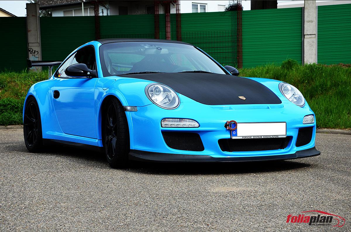 Porsche Blau und Carbon folierung foliaplan