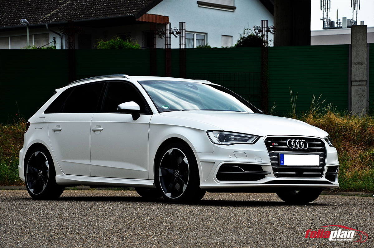 Audi S3 in Diamond White folierung foliaplan