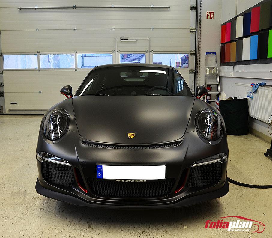Porsche GT3 Diamond Black Matt folierung foliaplan